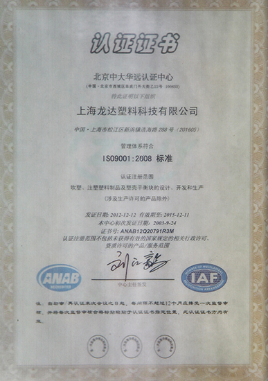 ISO9001:2008 Chinese<br/>certification